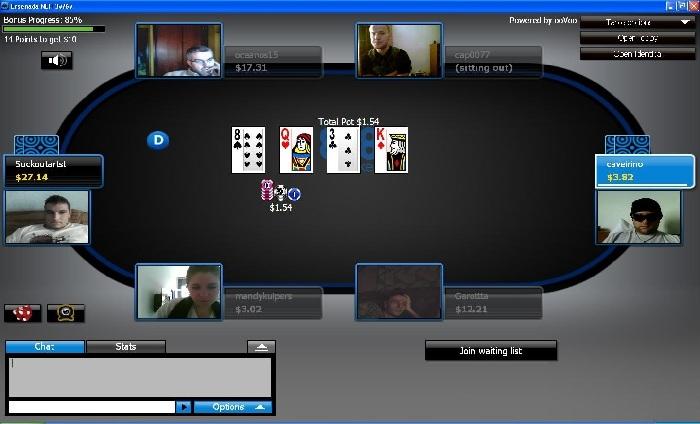 Screenshot di un tavolo da gioco da casino virtuale