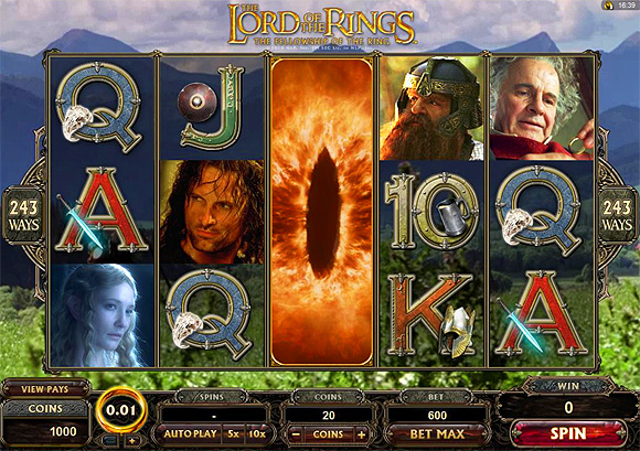 Schermata della slot Lord of the Ring